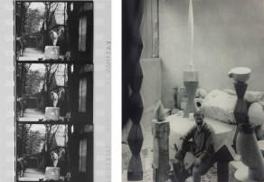 A sinistra: Constantin Brancusi sega un blocco di calcare, Impasse Ronsin, 1932. © Succession Brancusi - Tutti i diritti riservati ADAGP, Paris / Artist Rights Society (ARS), New York. Foto per gentile concessione di Paul Kasmin Galleria; A destra: Edward Steichen, Brancusi nel suo studio. Immagine per gentile concessione di See + Gallery, Pechino