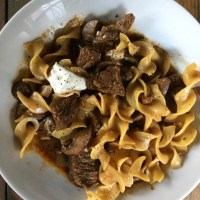 Stew Beef & Mushrooms Over Egg Noodles!