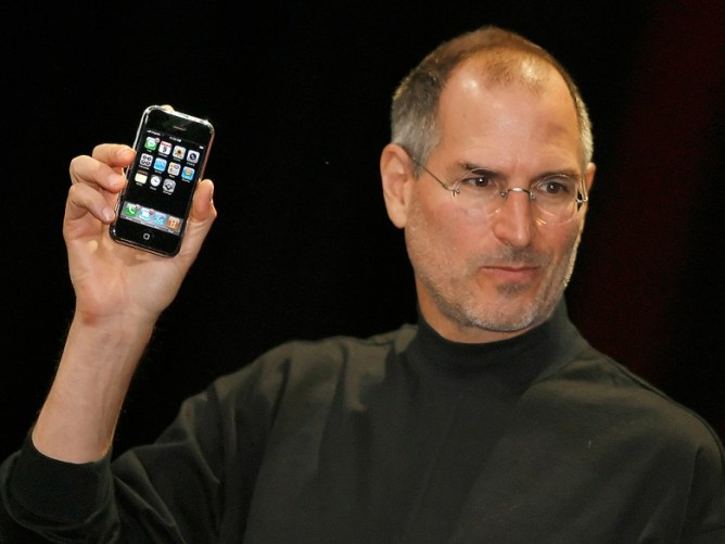 Jobs with first iPhone