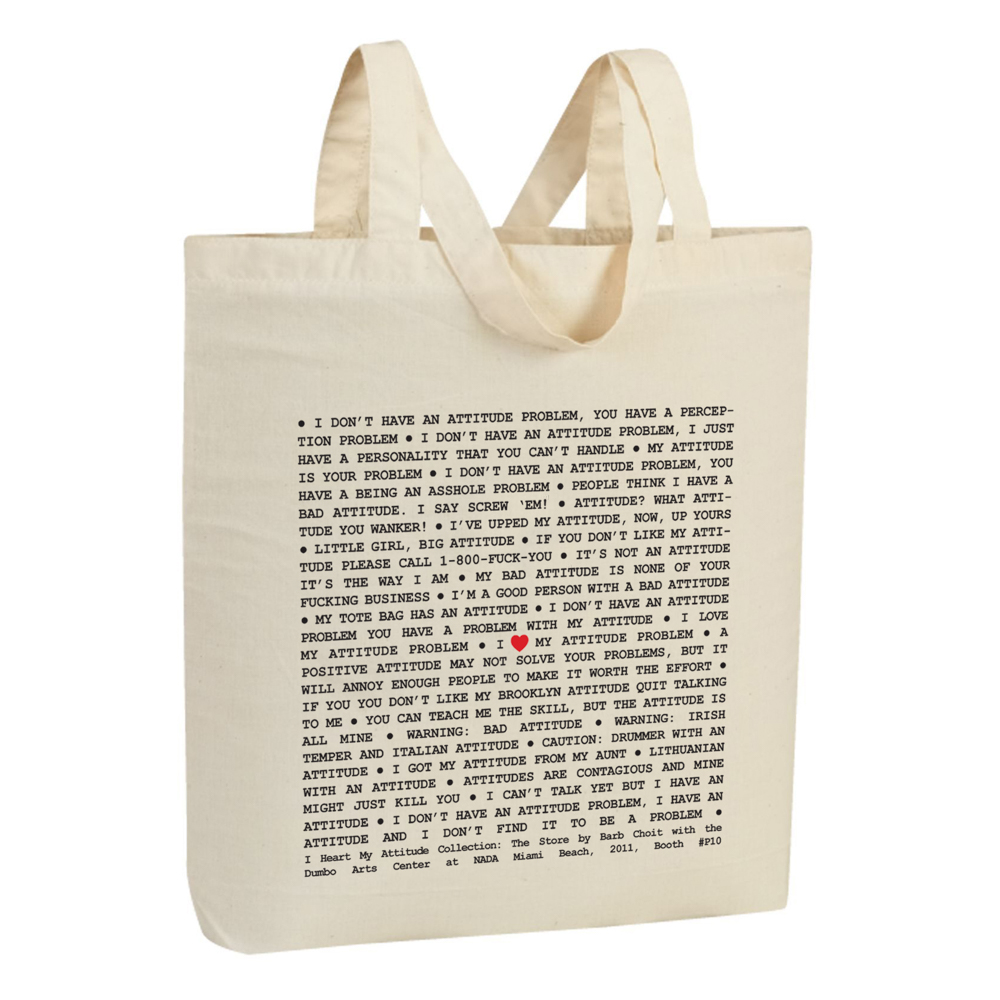 I ♥ My Attitude Collection: The Store, 2011, Promotional Tote Bag, Silkscreen on Canvas