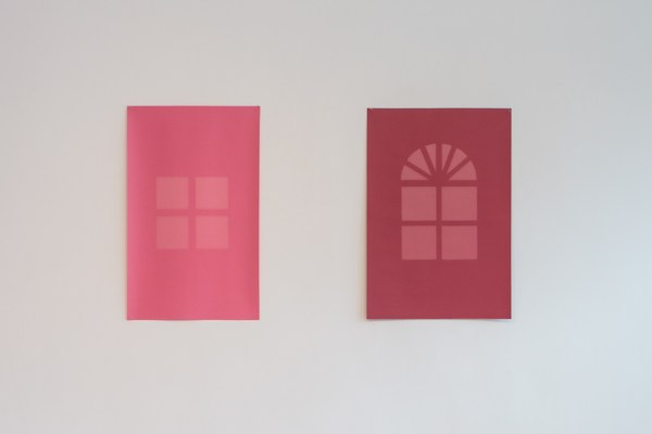 Quartered Window, Rose, Exposure Time 175 Hours 2012 Acid free photographic backdrop paper, ultraviolet light 30 x 18 ½ inches / French Door, Red, Exposure Time 480 Hours 2012 Acid free photographic backdrop paper, ultraviolet light 29 ¾ x 20 inches