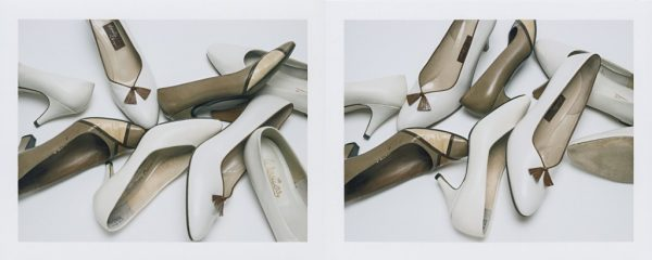 "Barb Choit, ""Shoe Diptych #2,"" 2015, Fujifilm FP-100c instant film, 2 prints, each 3.25 x 4.25 inches"