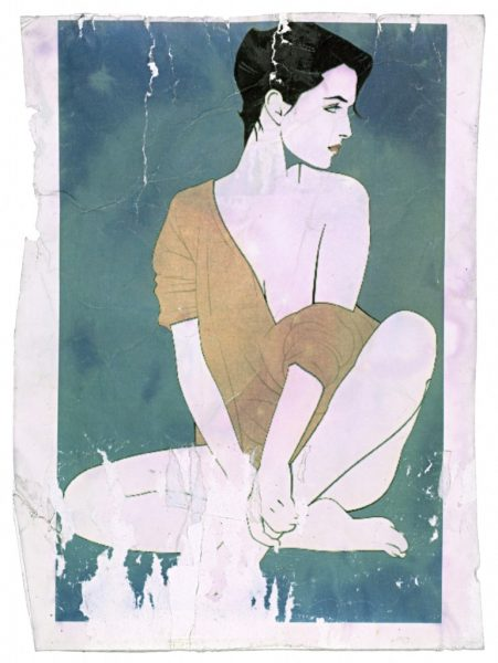 Patrick Nagel, Untitled, Laser Jet Print on Adhesive Paper, Bleach Bath, 2009, digital c-print, 24 3/4 x 18 1/4 inches, 63 x 46 cm.