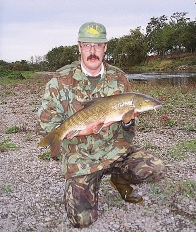 My mate Graham with his first double (10.05), from the River Wye at Bredwardine, October 1995.