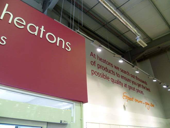 signage at the new Heatons store