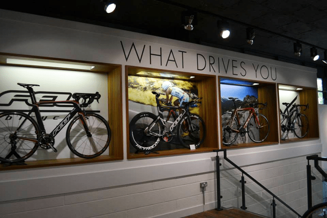 the cycling section at the Triathlon Shop