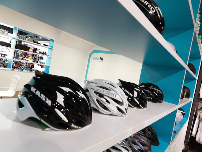 Helmet range on clean design shelving
