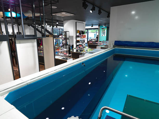 space for a trisuit testing pool inside the shop
