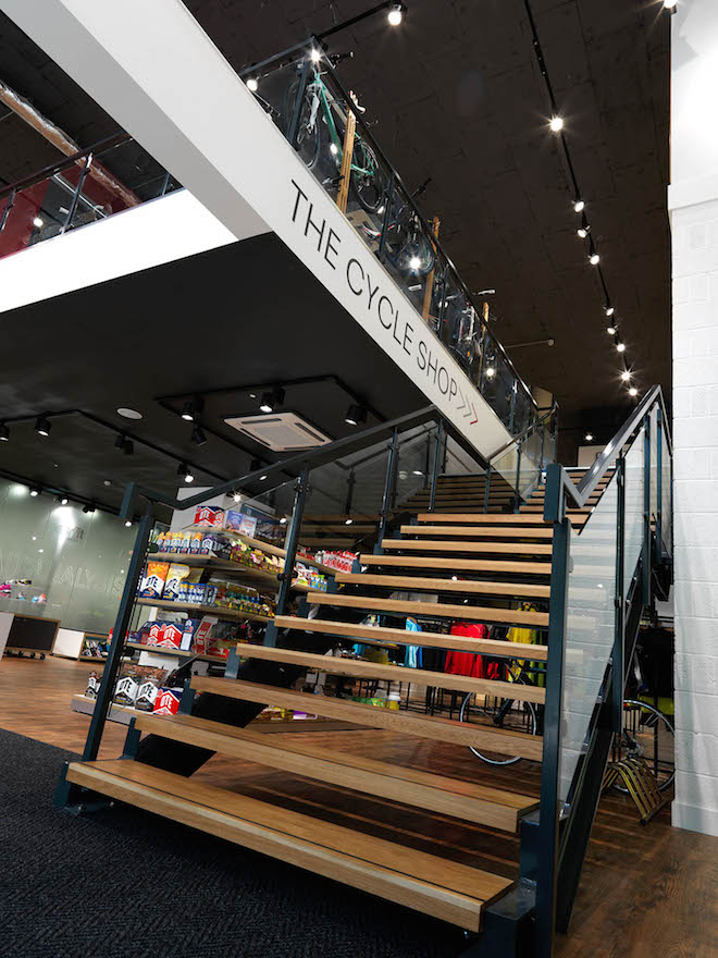Stairs inside the Triathlon Shop