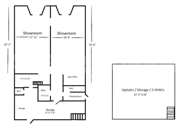 Floor Plan for 6,000 SF Retail for Sale in Downtown Collinsville