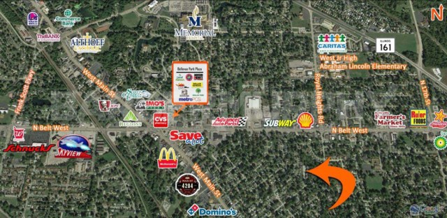 Area Map for Complex for Fully Leased 4 Plex Apartment Complex, 510 North 38th St, Belleville, Illinois 62226