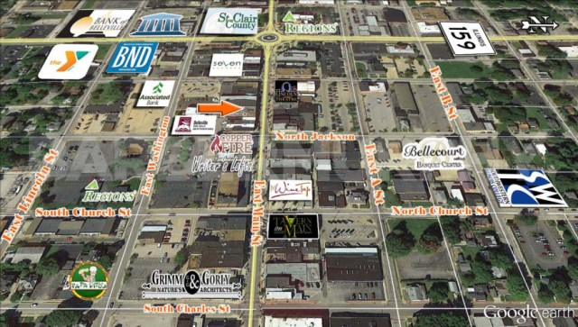 Area Map for Retail/Office Space for Lease, Downtown Belleville, Ben's, East Main St., Belleville, IL 62220