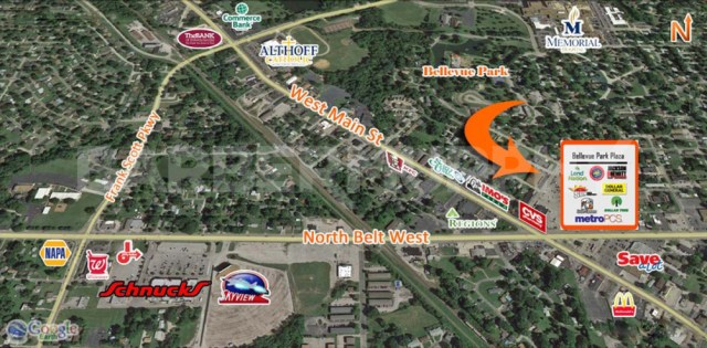 Area Map for 15,510 SF Store Front Retail For Sale, Bellevue Park Plaza, 101-109 North 47th St, Belleville, Illinois 62223