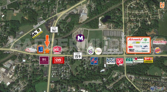 Area Map for 1,827 SF Office Building , TitleMax, NNN Investment, 1718 North Illinois St, Swansea, Illinois