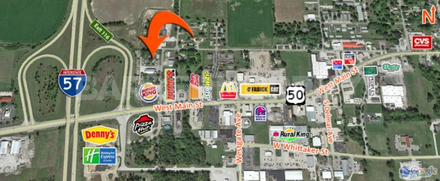 Expanded Area Map for 4.76 Acre Commercial, Industrial Property with Industrial Building on Site