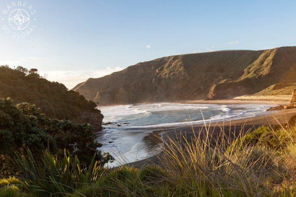 The section of Bethells Beach that the surfers use