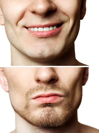 26404213 - portrait of a young man befor and after shaving