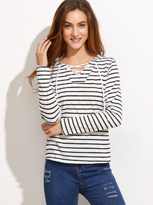 White Striped V Neck Lace Up T-shirt