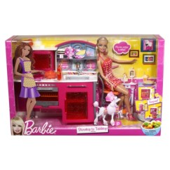 Barbie Kitchen Playset Laminate Flooring And Doll Friends Family