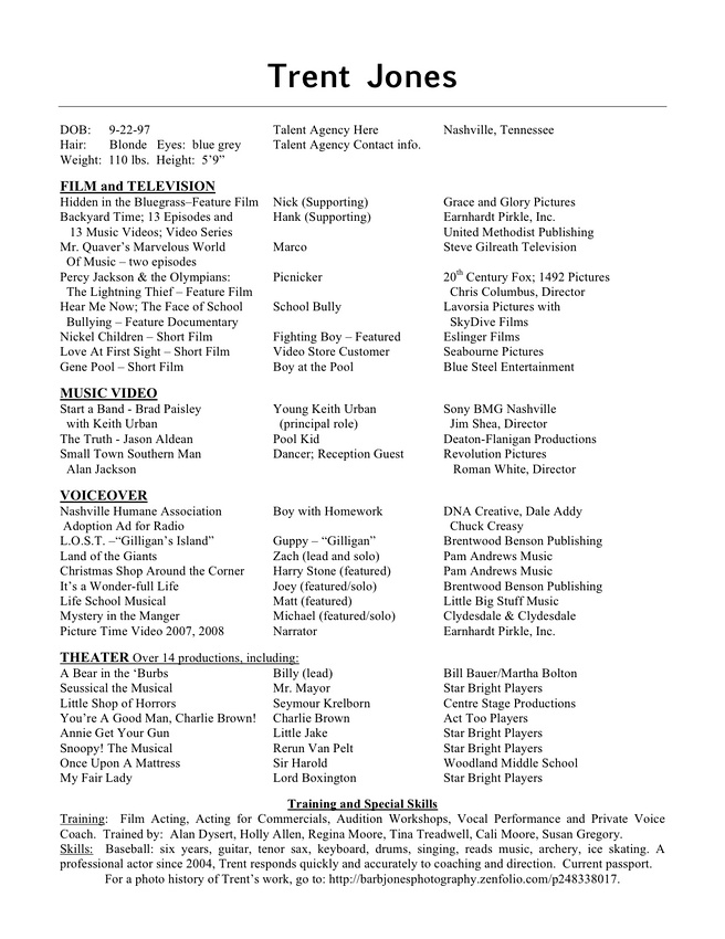Technical Theatre Resume Template  Resume Template Info