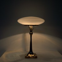 Midcentury white glass table lamp