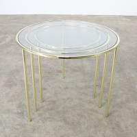 Midcentury Glass and Brass round nesting tables | BarbMama
