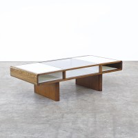 70s Space-Age coffee table in Weng / white formica ...