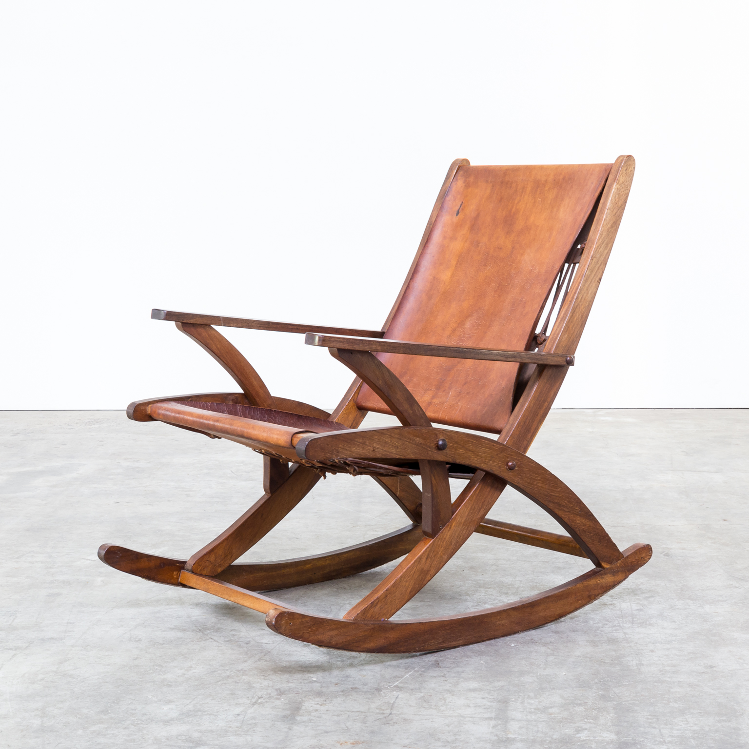 rocking chair leather and wood plastic weave garden chairs 60s oak saddle barbmama