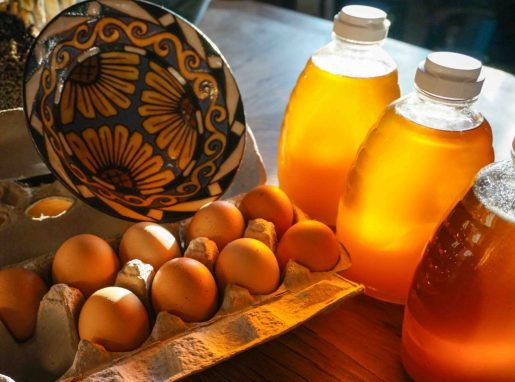 In trade for garlic: pottery, honey, eggs