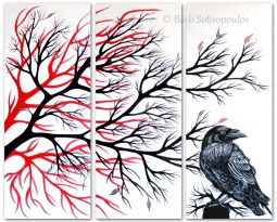 """""""Nevermore""""16×40 in Panels, Acrylic on Canvas2013. All images copyright Barb Sotiropoulos. All Rights Reserved. (Available for Purchase)"""
