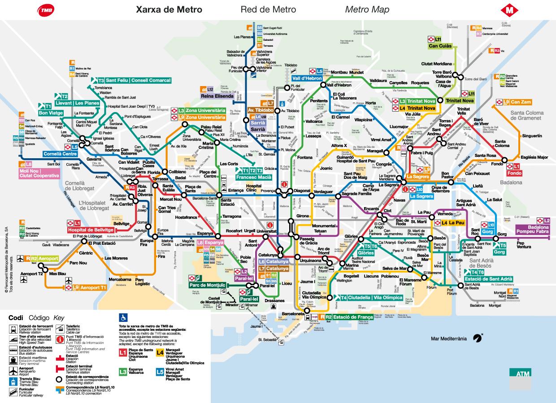 Transport Barcelona Metro Autobusy Tramwaje Pociagi Barcalena