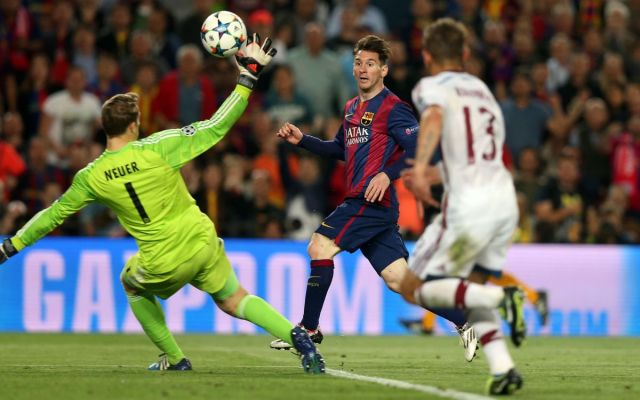 Messi scoring that sumptuous goal vs. Bayern in the Champions League