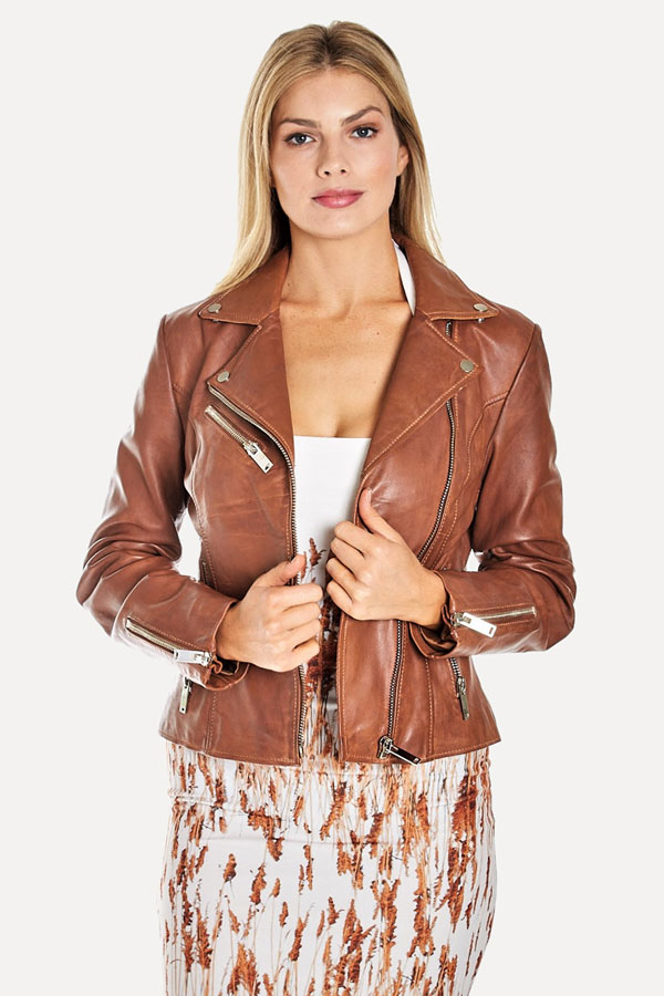 rust color leather moto jacket
