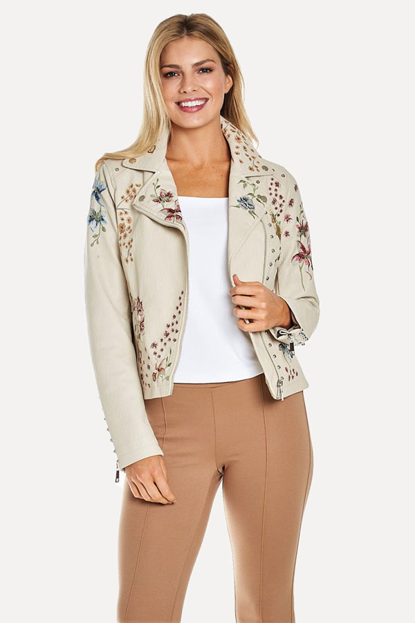white leather moto jacket with floral embroidery