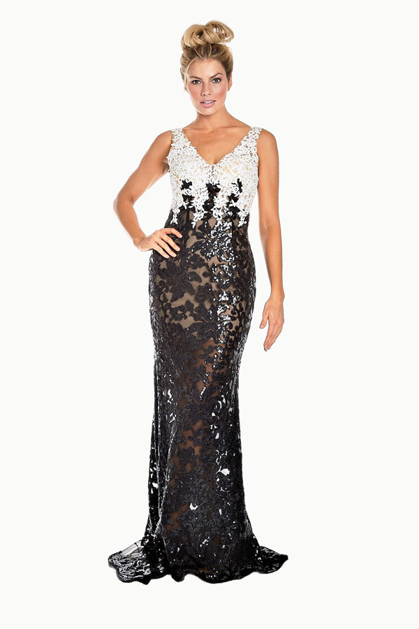 front view of black and white two-toned sequined dress