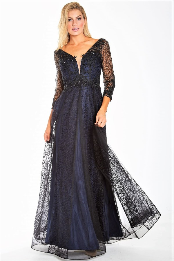 Evening Gown with Sheer Lace Long Sleeve