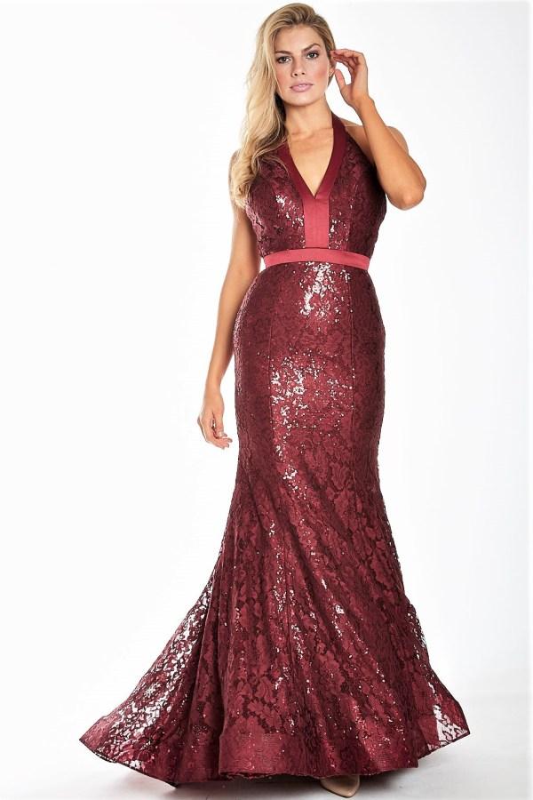 Wine Halter Sparkle Gown