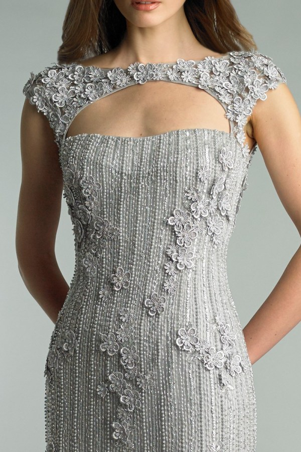 Silver Beaded Embroidered Sweetheart Neck Gown