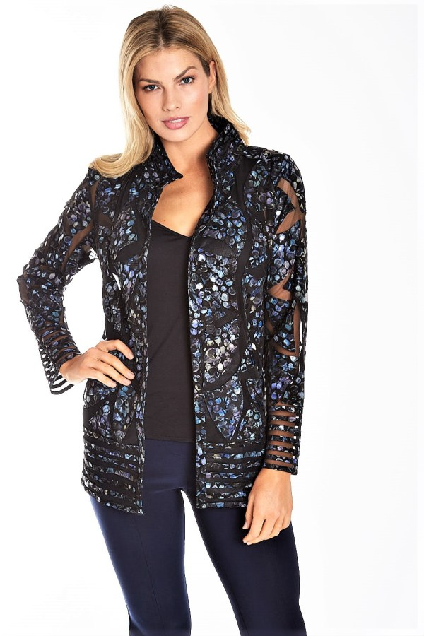 Leather Floral Print Mesh Shirt Jacket