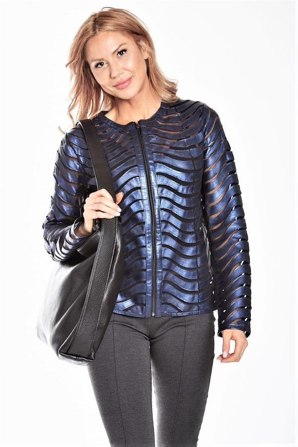 Pearlized Leather Wave Cutout Jacket