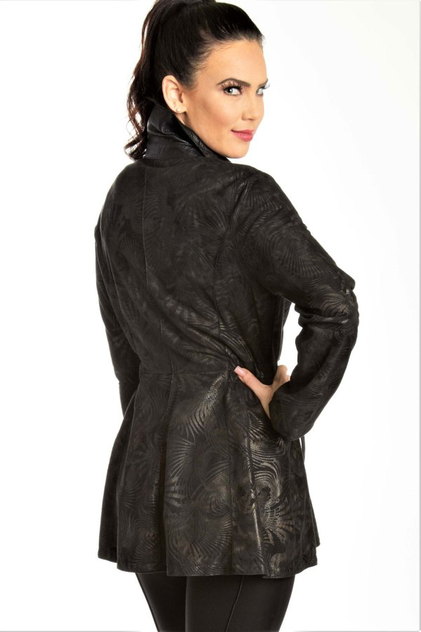 Reversible Leather Stamped Print Jacket