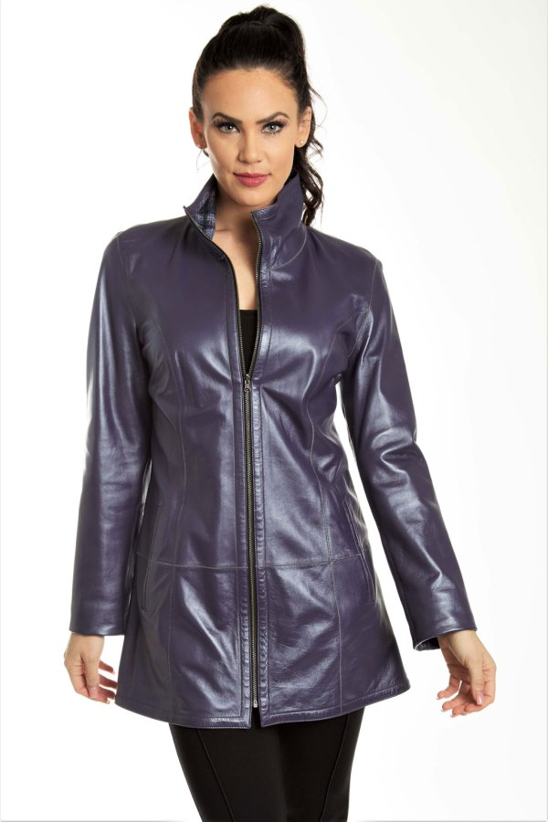 Reversible Pearlized Leather Jacket