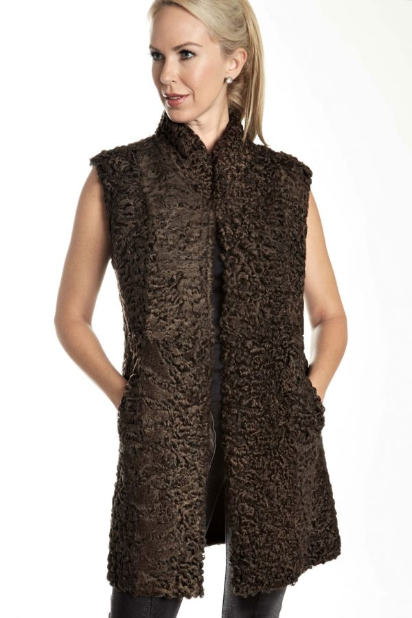 Persian Lamb Shearling reversible to Leather Vest