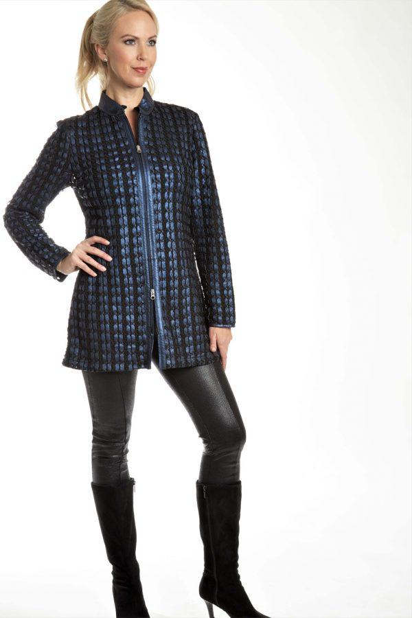 Longer Woven Stripe Zip Leather Jacket
