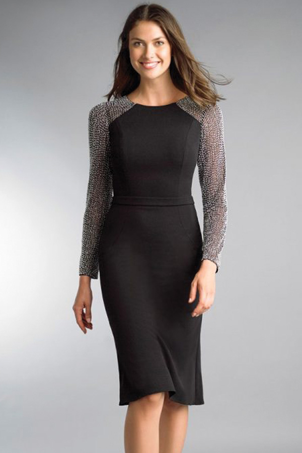Crepe Cocktail Dress with Beaded Sleeve