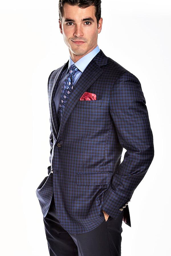 Ravazzolo-Jacket in Super 130's Wool in Checkered design