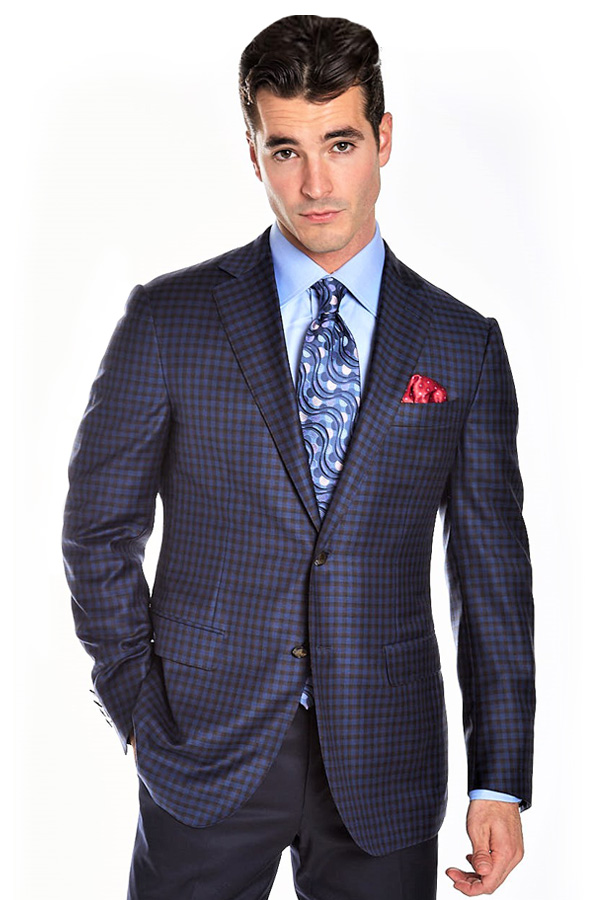 Ravazzolo-Jacket in Super 130's Wool in Checkered design
