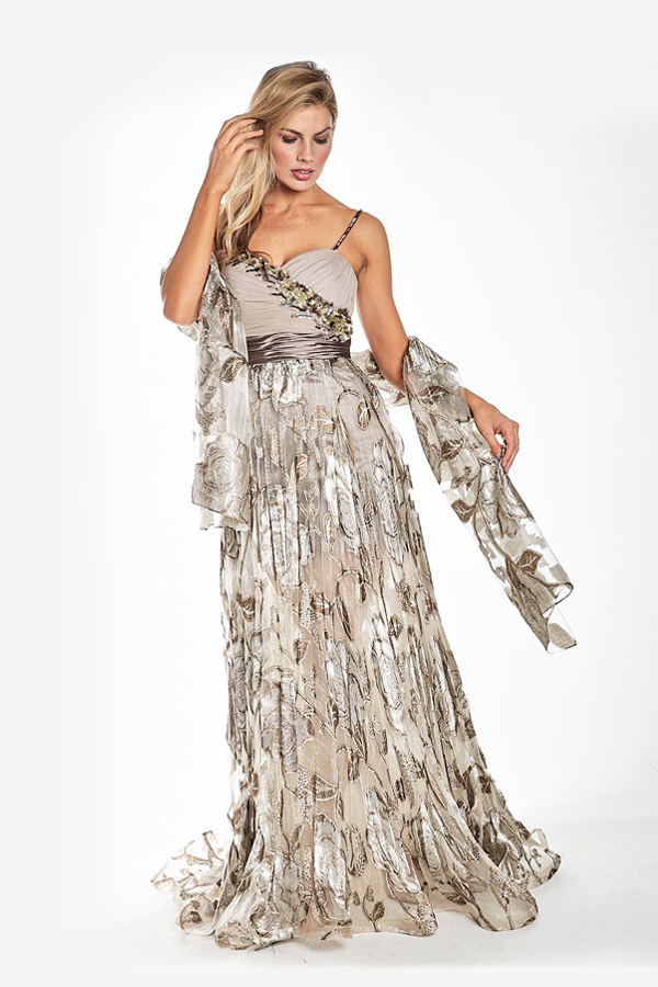 Full Length Lace Gown with Sash