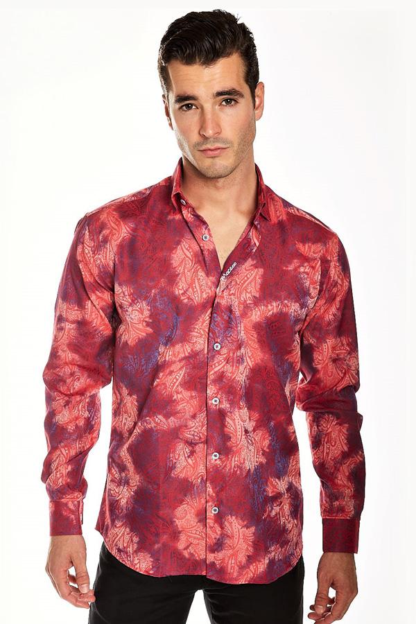 Cotton Sport Shirt-Hidden Button Down detail in a Modern Fit Model. Designed by Maceoo.
