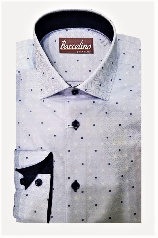 Sport/Dress Shirt in Italian Jacquard Fabric. Modern Fit.